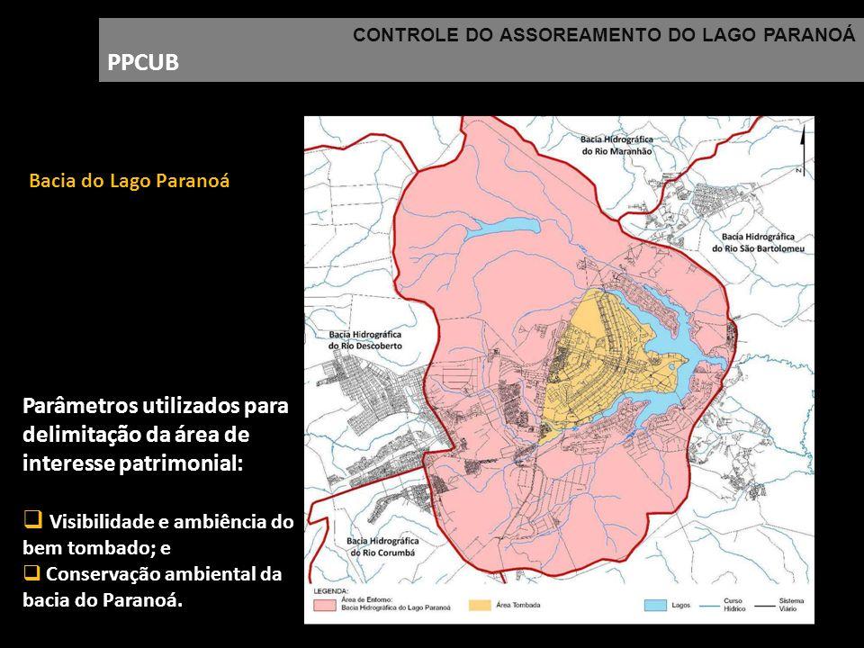 CONTROLE DO ASSOREAMENTO DO LAGO PARANOÁ PPCUB Parâmetros utilizados para delimitação da área de interesse patrimonial: Visibilidade e ambiência do be