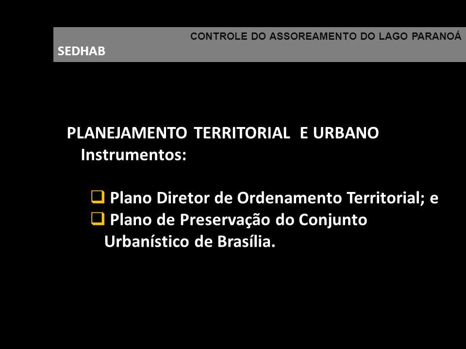 CONTROLE DO ASSOREAMENTO DO LAGO PARANOÁ SEDHAB PLANEJAMENTO TERRITORIAL E URBANO Instrumentos: Plano Diretor de Ordenamento Territorial; e Plano de P
