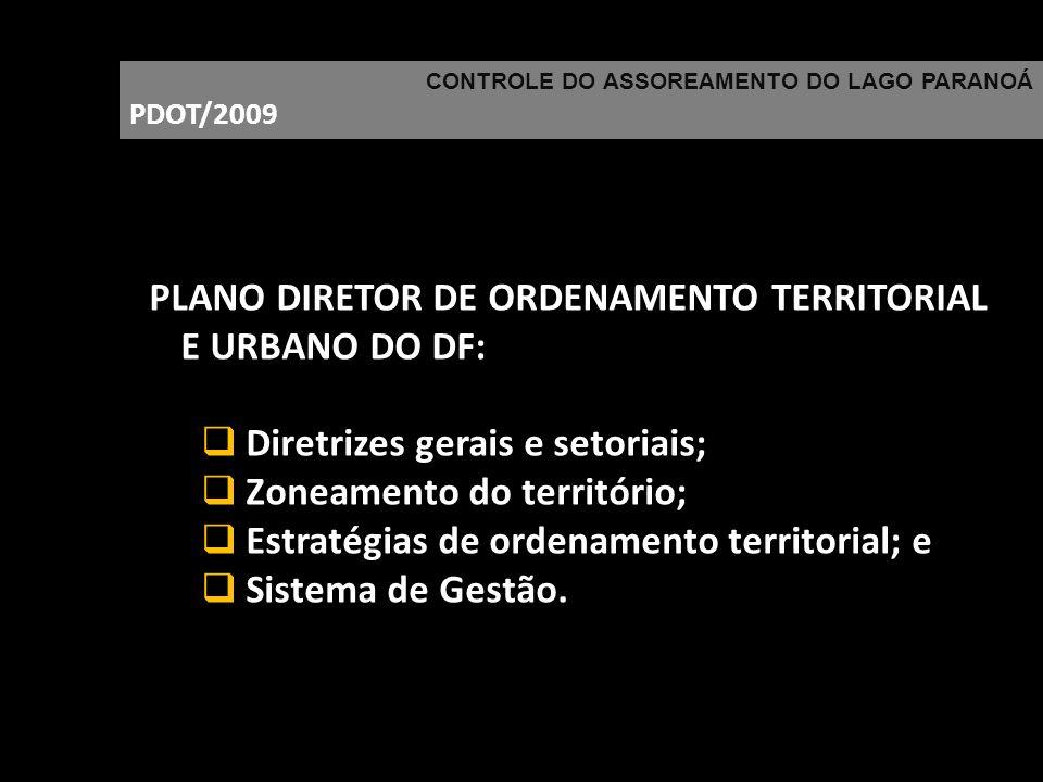 CONTROLE DO ASSOREAMENTO DO LAGO PARANOÁ PDOT/2009 PLANO DIRETOR DE ORDENAMENTO TERRITORIAL E URBANO DO DF: Diretrizes gerais e setoriais; Zoneamento