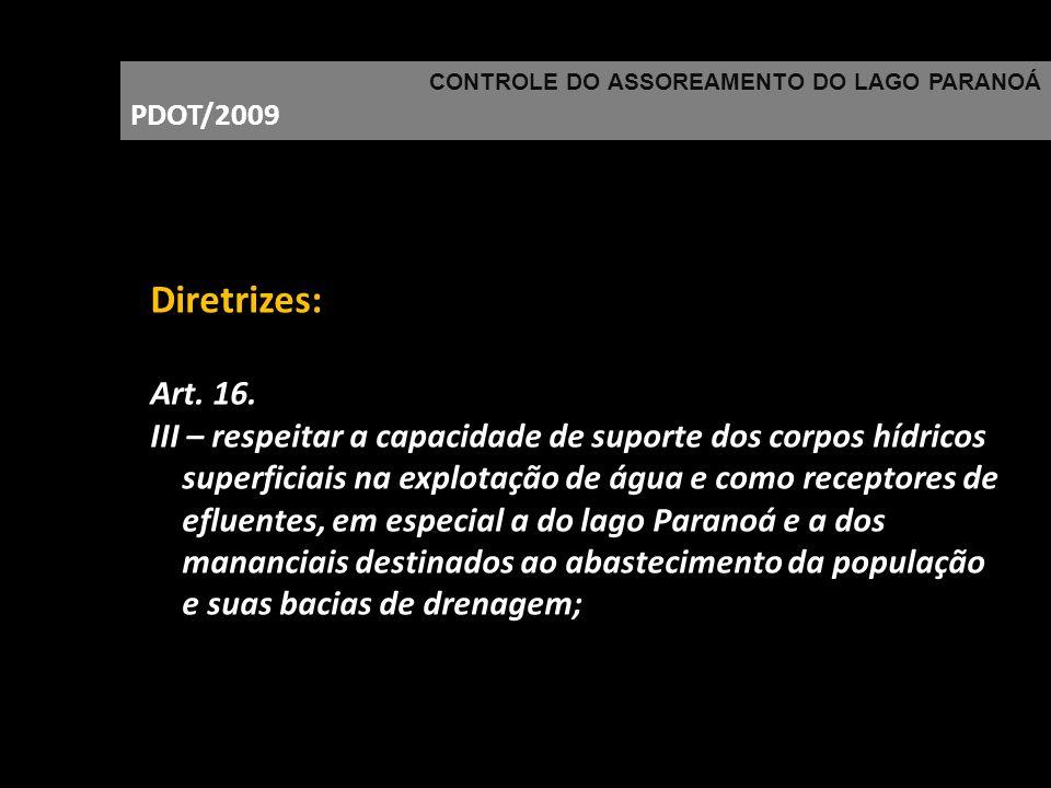 CONTROLE DO ASSOREAMENTO DO LAGO PARANOÁ PDOT/2009 Diretrizes: Art. 16. III – respeitar a capacidade de suporte dos corpos hídricos superficiais na ex