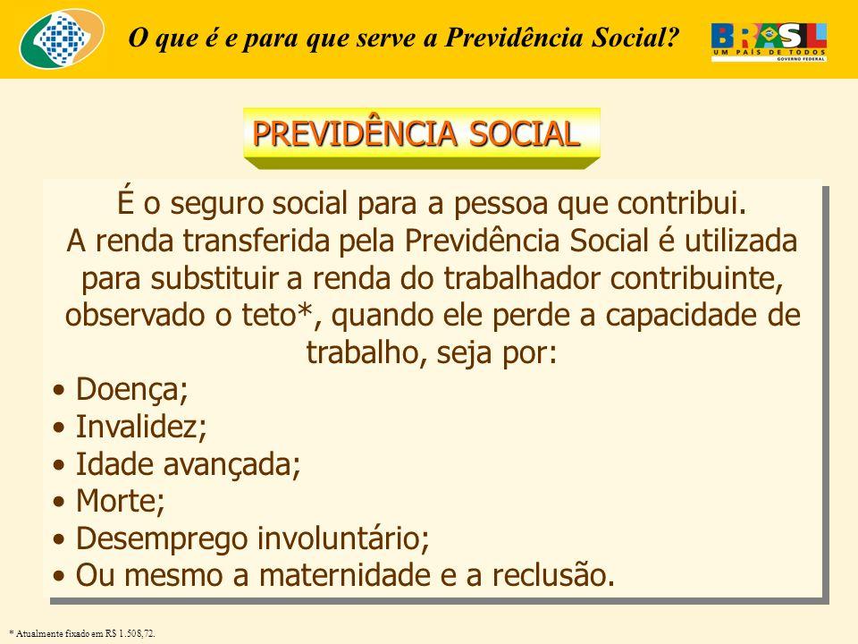 O que é e para que serve a Previdência Social? É o seguro social para a pessoa que contribui. A renda transferida pela Previdência Social é utilizada