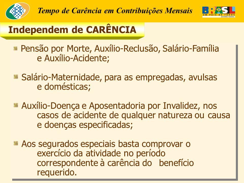 Tempo de Carência em Contribuições Mensais Independem de CARÊNCIA Pensão por Morte, Auxílio-Reclusão, Salário-Família e Auxílio-Acidente; Salário-Maternidade, para as empregadas, avulsas e domésticas; Auxílio-Doença e Aposentadoria por Invalidez, nos casos de acidente de qualquer natureza ou causa e doenças especificadas; Aos segurados especiais basta comprovar o exercício da atividade no período correspondente à carência do benefício requerido.