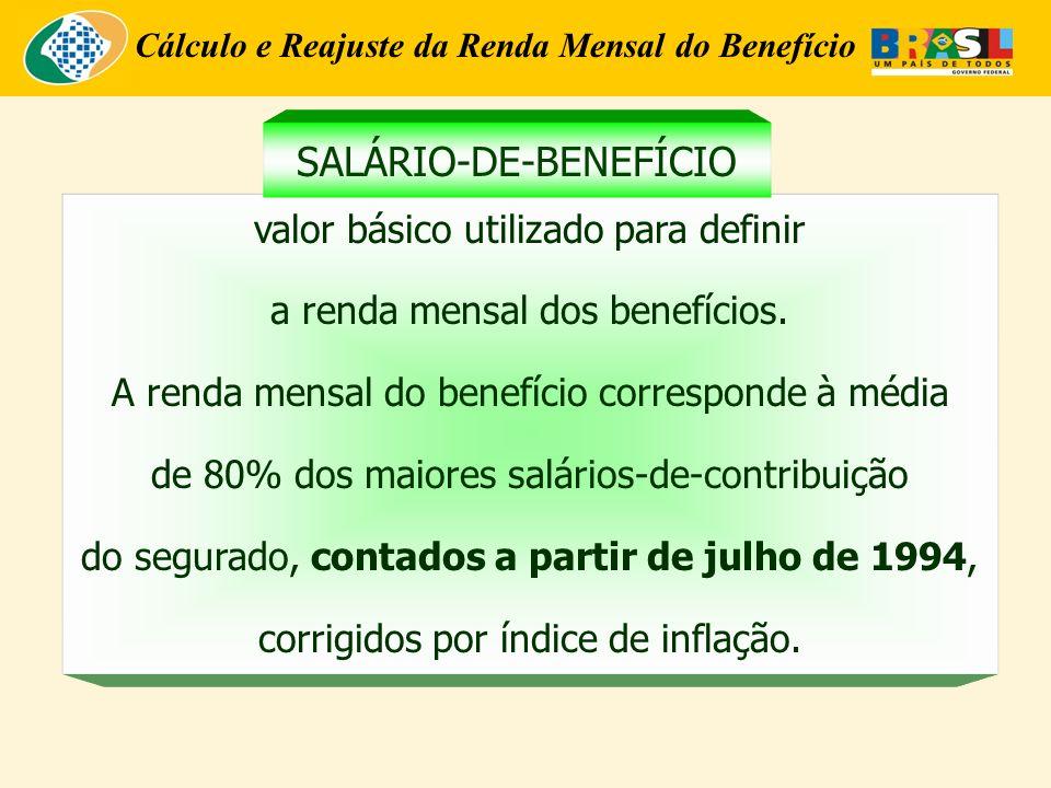 Cálculo e Reajuste da Renda Mensal do Benefício valor básico utilizado para definir a renda mensal dos benefícios. A renda mensal do benefício corresp