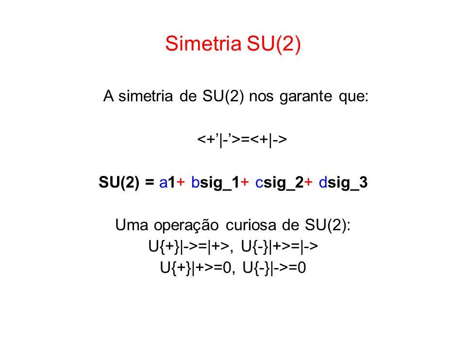 Simetria SU(2) A simetria de SU(2) nos garante que: = SU(2) = a1+ bsig_1+ csig_2+ dsig_3 Uma operação curiosa de SU(2): U{+}|->=|+>, U{-}|+>=|-> U{+}|