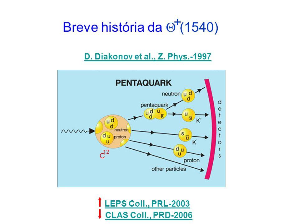 Breve história da (1540) C 12 D. Diakonov et al., Z. Phys.-1997 LEPS Coll., PRL-2003 CLAS Coll., PRD-2006 +