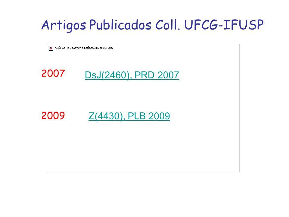 Artigos Publicados Coll. UFCG-IFUSP 2007 2009 DsJ(2460), PRD 2007 Z(4430), PLB 2009