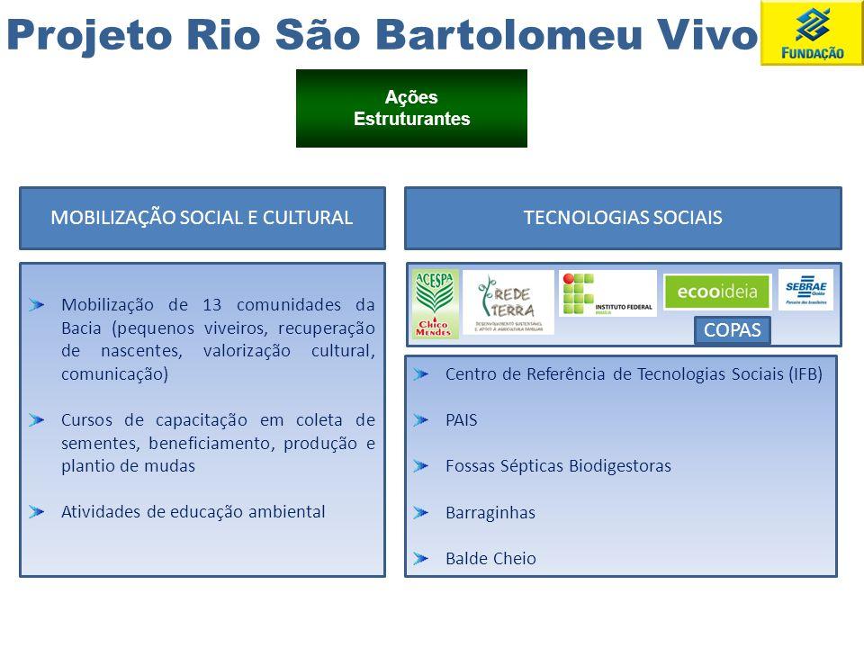 Projeto Rio São Bartolomeu Vivo Ações Estruturantes MOBILIZAÇÃO SOCIAL E CULTURAL Mobilização de 13 comunidades da Bacia (pequenos viveiros, recuperaç