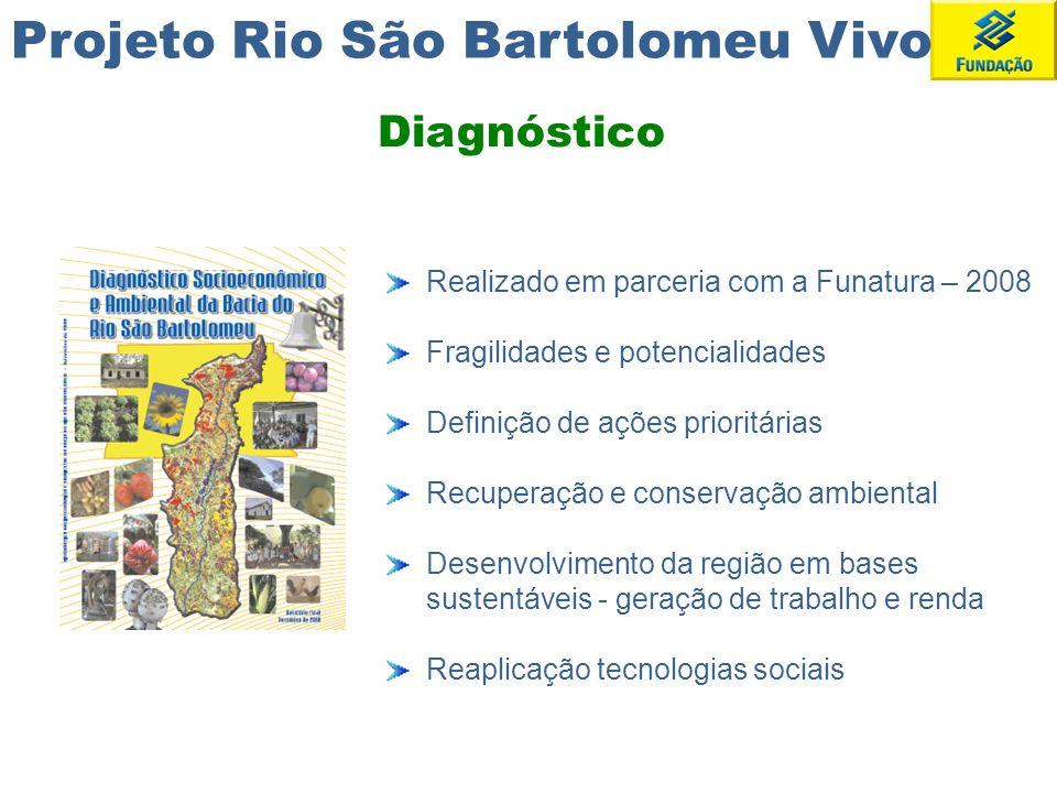 Projeto Rio São Bartolomeu Vivo Implementar ações que contribuam para a preservação e recuperação sustentável da bacia do rio São Bartolomeu, e para a promoção do desenvolvimento integrado e sustentável das populações envolvidas.