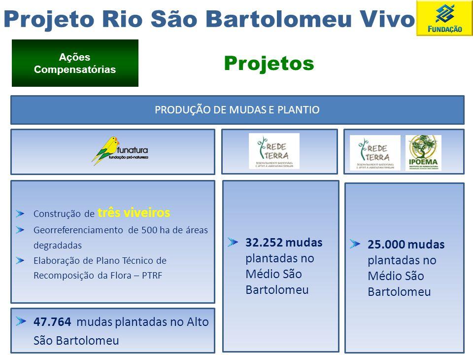 Projeto Rio São Bartolomeu Vivo Ações Compensatórias PRODUÇÃO DE MUDAS E PLANTIO Construção de três viveiros Georreferenciamento de 500 ha de áreas de