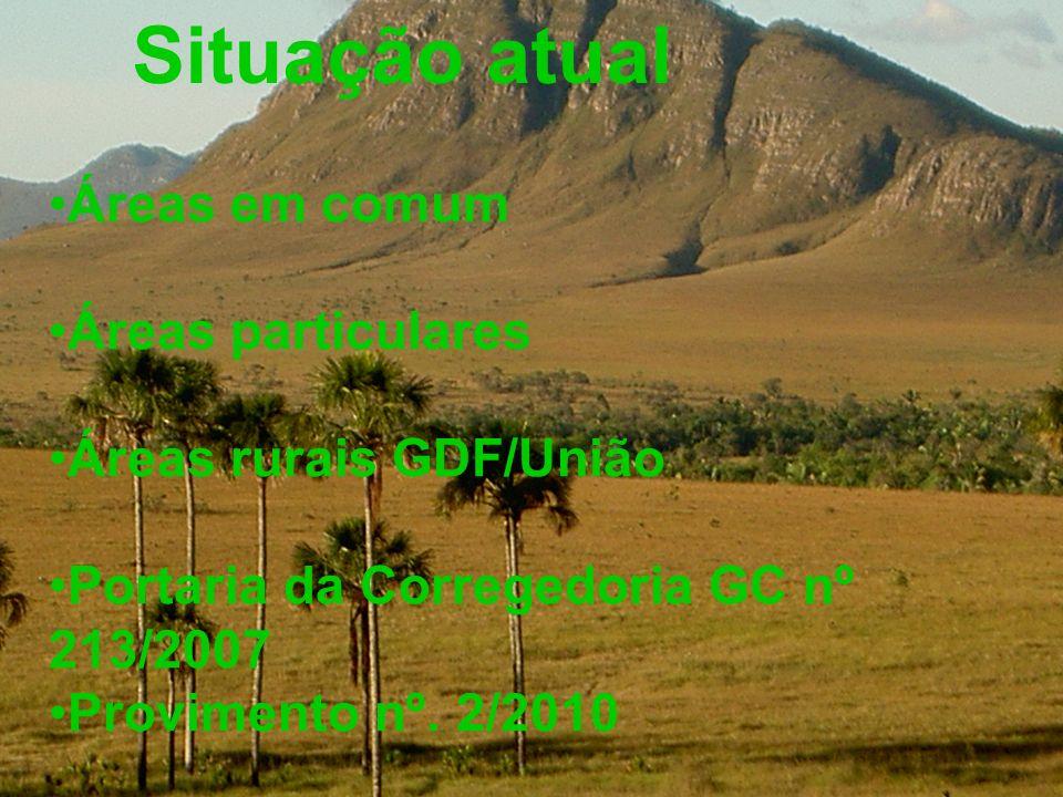 Situação atual Áreas em comum Áreas particulares Áreas rurais GDF/União Portaria da Corregedoria GC nº 213/2007 Provimento nº. 2/2010