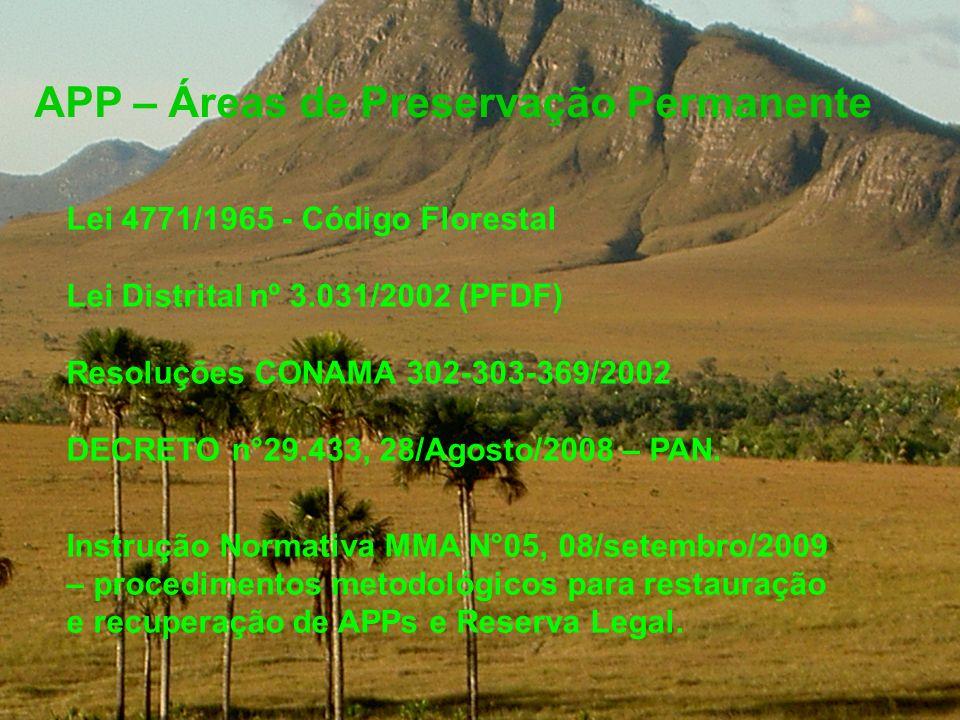 APP – Áreas de Preservação Permanente Lei 4771/1965 - Código Florestal Lei Distrital nº 3.031/2002 (PFDF) Resoluções CONAMA 302-303-369/2002 DECRETO n