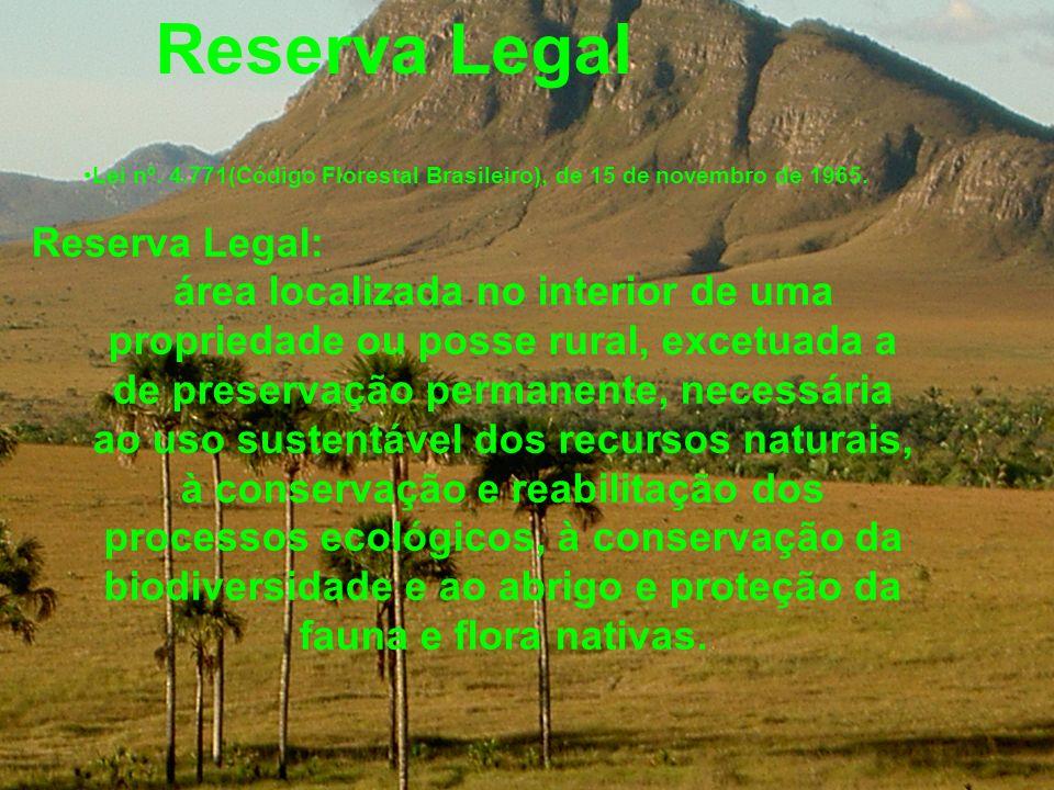 Reserva Legal Lei nº. 4.771(Código Florestal Brasileiro), de 15 de novembro de 1965. Reserva Legal: área localizada no interior de uma propriedade ou