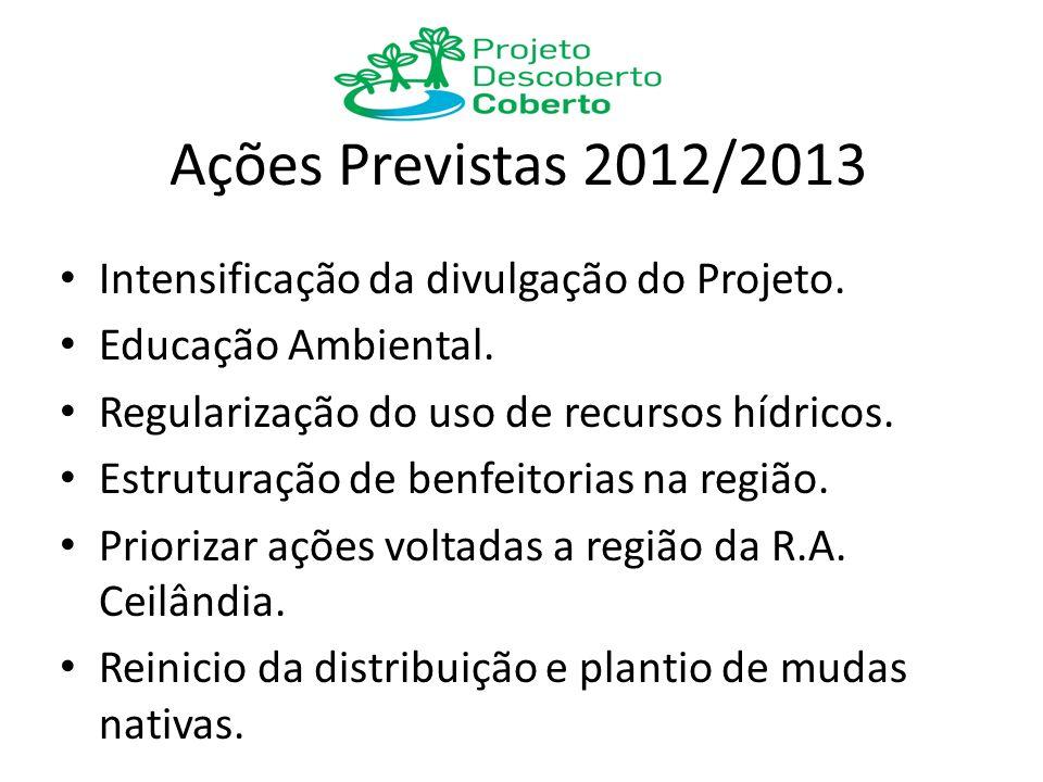 Ações Previstas 2012/2013 Intensificação da divulgação do Projeto. Educação Ambiental. Regularização do uso de recursos hídricos. Estruturação de benf