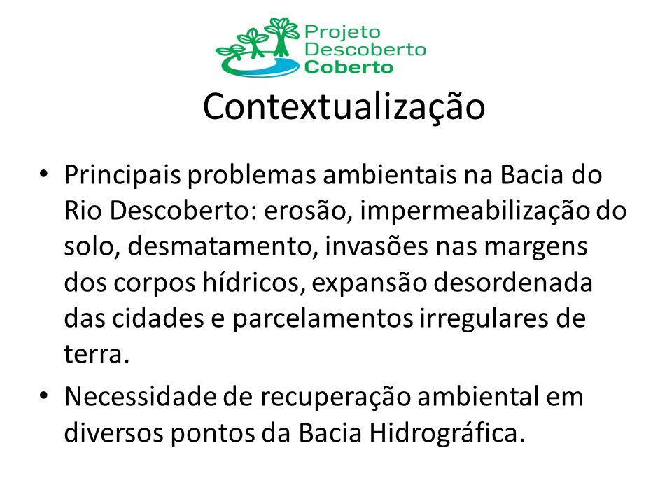 Contextualização Principais problemas ambientais na Bacia do Rio Descoberto: erosão, impermeabilização do solo, desmatamento, invasões nas margens dos