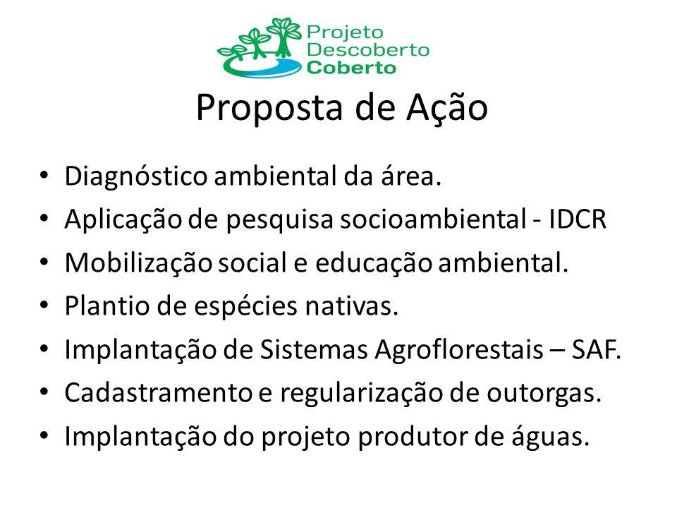 Proposta de Ação Diagnóstico ambiental da área. Aplicação de pesquisa socioambiental - IDCR Mobilização social e educação ambiental. Plantio de espéci