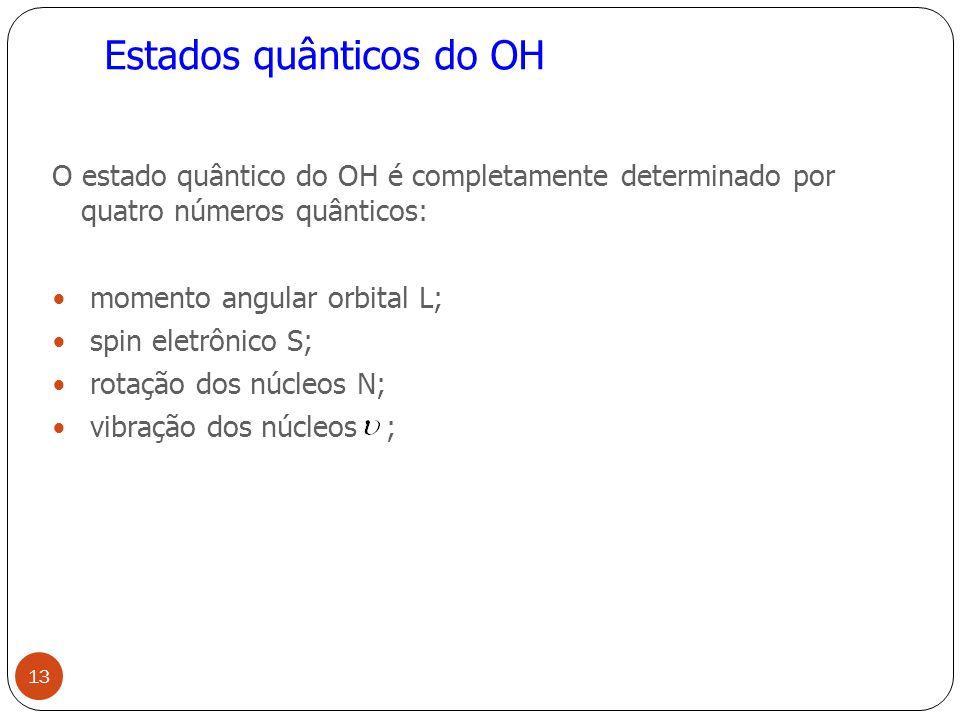 Estados quânticos do OH O estado quântico do OH é completamente determinado por quatro números quânticos: momento angular orbital L; spin eletrônico S; rotação dos núcleos N; vibração dos núcleos ; 13