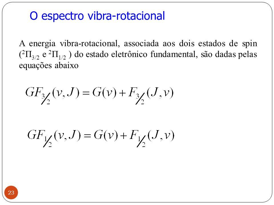 O espectro vibra-rotacional A energia vibra-rotacional, associada aos dois estados de spin ( 2 П 3/2 e 2 П 1/2 ) do estado eletrônico fundamental, são dadas pelas equações abaixo 23