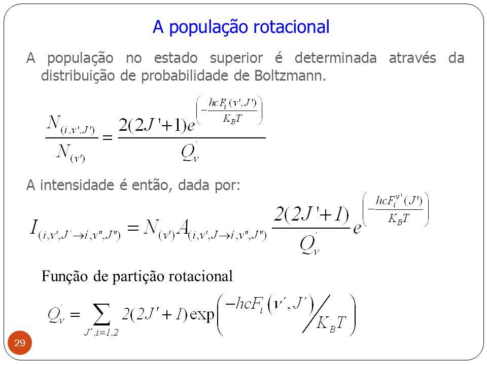 A população rotacional A população no estado superior é determinada através da distribuição de probabilidade de Boltzmann.