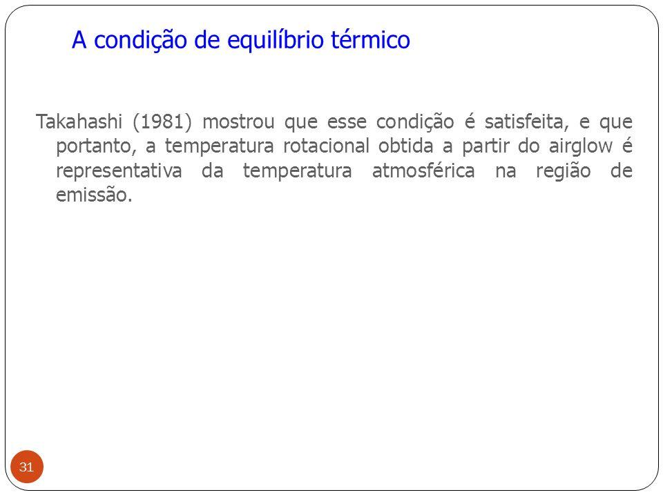 A condição de equilíbrio térmico Takahashi (1981) mostrou que esse condição é satisfeita, e que portanto, a temperatura rotacional obtida a partir do airglow é representativa da temperatura atmosférica na região de emissão.