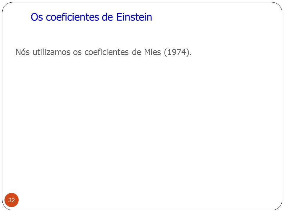 Os coeficientes de Einstein Nós utilizamos os coeficientes de Mies (1974). 32
