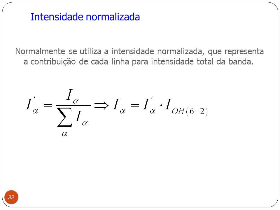 Intensidade normalizada Normalmente se utiliza a intensidade normalizada, que representa a contribuição de cada linha para intensidade total da banda.