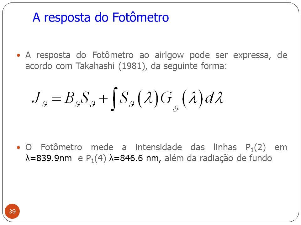 A resposta do Fotômetro A resposta do Fotômetro ao airlgow pode ser expressa, de acordo com Takahashi (1981), da seguinte forma: O Fotômetro mede a intensidade das linhas P 1 (2) em λ=839.9nm e P 1 (4) λ=846.6 nm, além da radiação de fundo 39