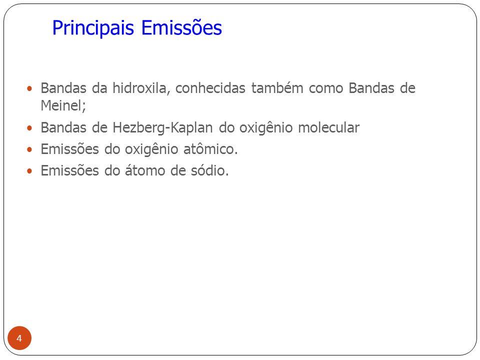 Principais Emissões Bandas da hidroxila, conhecidas também como Bandas de Meinel; Bandas de Hezberg-Kaplan do oxigênio molecular Emissões do oxigênio atômico.