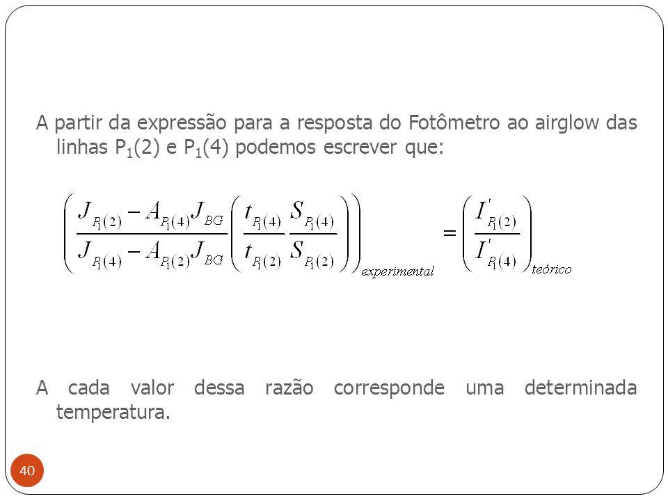 A partir da expressão para a resposta do Fotômetro ao airglow das linhas P 1 (2) e P 1 (4) podemos escrever que: A cada valor dessa razão corresponde uma determinada temperatura.