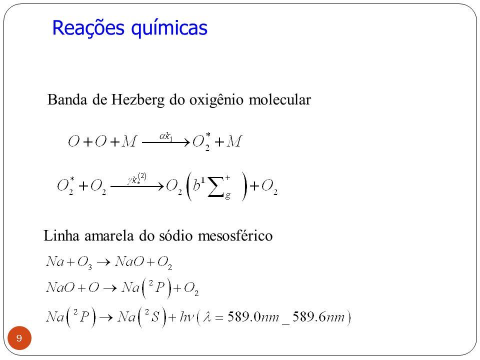 Reações químicas Banda de Hezberg do oxigênio molecular Linha amarela do sódio mesosférico 9