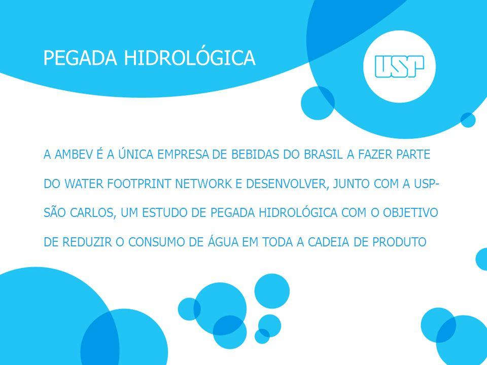 PEGADA HIDROLÓGICA A AMBEV É A ÚNICA EMPRESA DE BEBIDAS DO BRASIL A FAZER PARTE DO WATER FOOTPRINT NETWORK E DESENVOLVER, JUNTO COM A USP- SÃO CARLOS,
