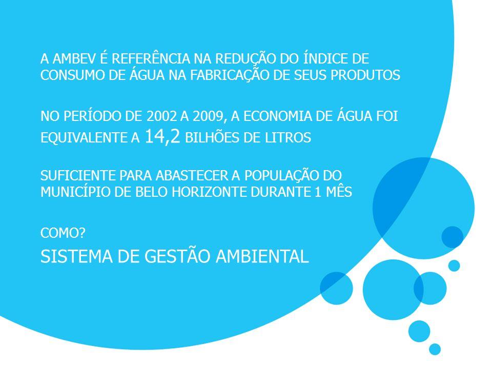 A AMBEV É REFERÊNCIA NA REDUÇÃO DO ÍNDICE DE CONSUMO DE ÁGUA NA FABRICAÇÃO DE SEUS PRODUTOS NO PERÍODO DE 2002 A 2009, A ECONOMIA DE ÁGUA FOI EQUIVALE