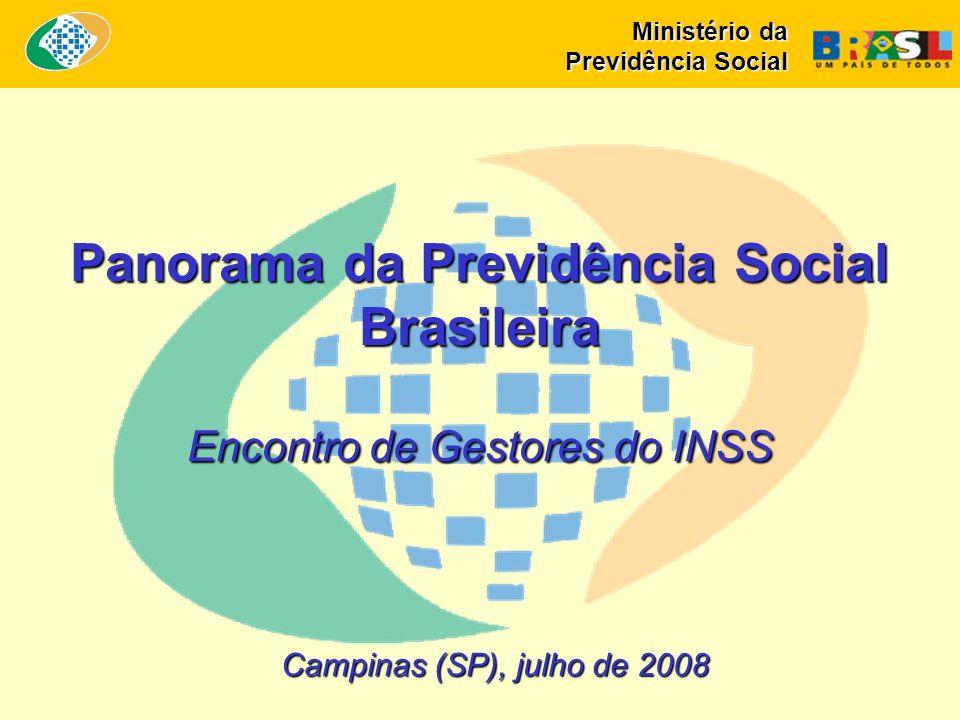 Campinas (SP), julho de 2008 Panorama da Previdência Social Brasileira Encontro de Gestores do INSS Ministério da Previdência Social