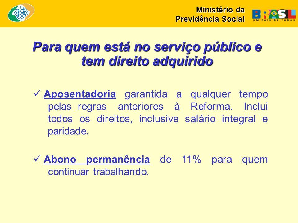 Para quem está no serviço público e tem direito adquirido Aposentadoria garantida a qualquer tempo pelas regras anteriores à Reforma. Inclui todos os