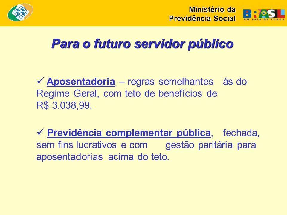 Aposentadoria – regras semelhantes às do Regime Geral, com teto de benefícios de R$ 3.038,99. Previdência complementar pública, fechada, sem fins lucr