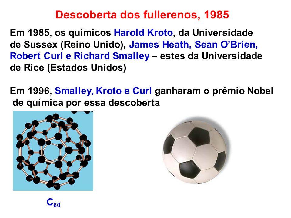 Descoberta dos Nanotubos de Carbono, 1991 Em 1991, Sumio Iijima observou com um Microscópio de Transmissão Eletrônica, nanotubos de carbono de multicamada na amostra de fullerenos produzidos via descarga de arco.