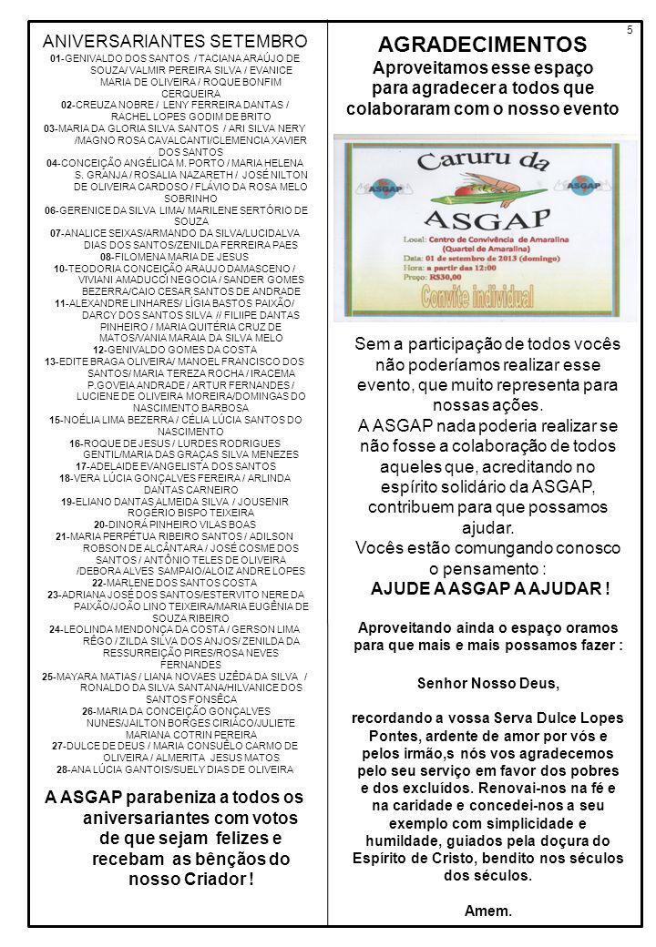 ANIVERSARIANTES SETEMBRO 01-GENIVALDO DOS SANTOS / TACIANA ARAÚJO DE SOUZA/ VALMIR PEREIRA SILVA / EVANICE MARIA DE OLIVEIRA / ROQUE BONFIM CERQUEIRA