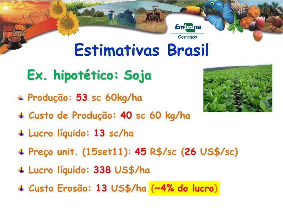 Produção: 53 sc 60kg/ha Ex. hipotético: Soja Custo de Produção: 40 sc 60 kg/ha Lucro líquido: 13 sc/ha Preço unit. (15set11): 45 R$/sc (26 US$/sc) Luc