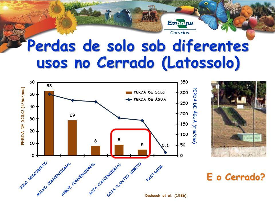 Perdas de solo sob diferentes usos no Cerrado (Latossolo) E o Cerrado? 0 10 20 30 40 50 60 PERDA DE SOLO (t/ha/ano) 53 SOLO DESCOBERTO 29 MILHO CONVEN