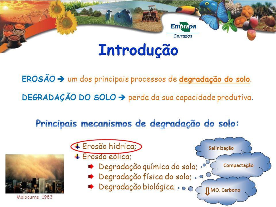EROSÃO um dos principais processos de degradação do solo. Erosão hídrica; Erosão eólica; Degradação química do solo; Degradação física do solo; Degrad