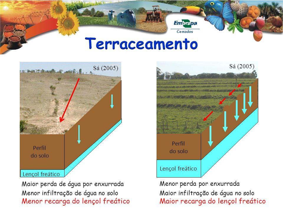Sá (2005) Lençol freático Perfil do solo Lençol freático Perfil do solo Maior perda de água por enxurrada Menor perda por enxurrada Maior infiltração