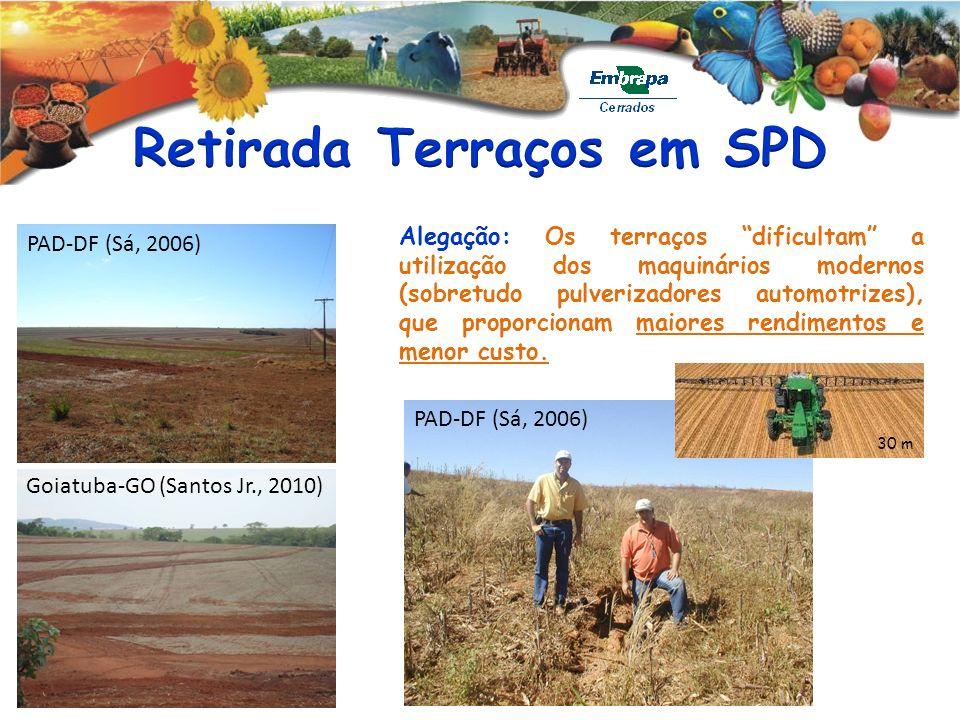 PAD-DF (Sá, 2006) Goiatuba-GO (Santos Jr., 2010) Alegação: Os terraços dificultam a utilização dos maquinários modernos (sobretudo pulverizadores auto