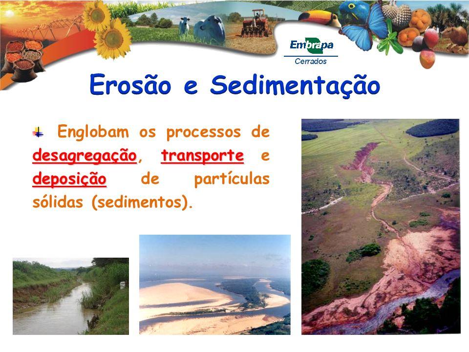 desagregaçãotransporte deposição Englobam os processos de desagregação, transporte e deposição de partículas sólidas (sedimentos).