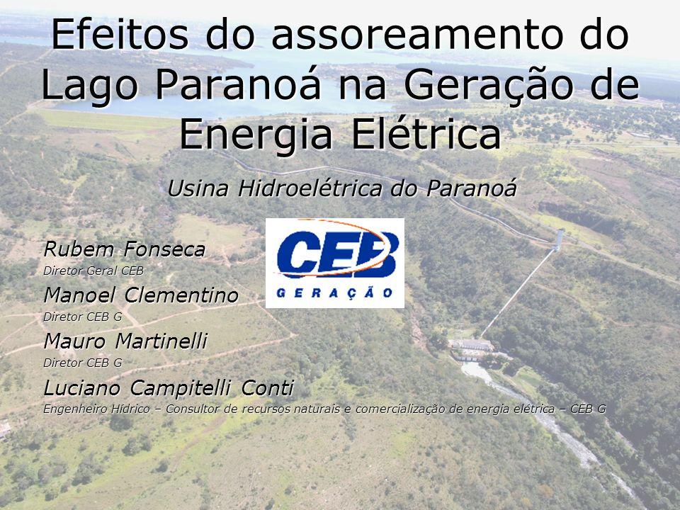 Usina Hidroelétrica do Paranoá Rubem Fonseca Diretor Geral CEB Manoel Clementino Diretor CEB G Mauro Martinelli Diretor CEB G Luciano Campitelli Conti