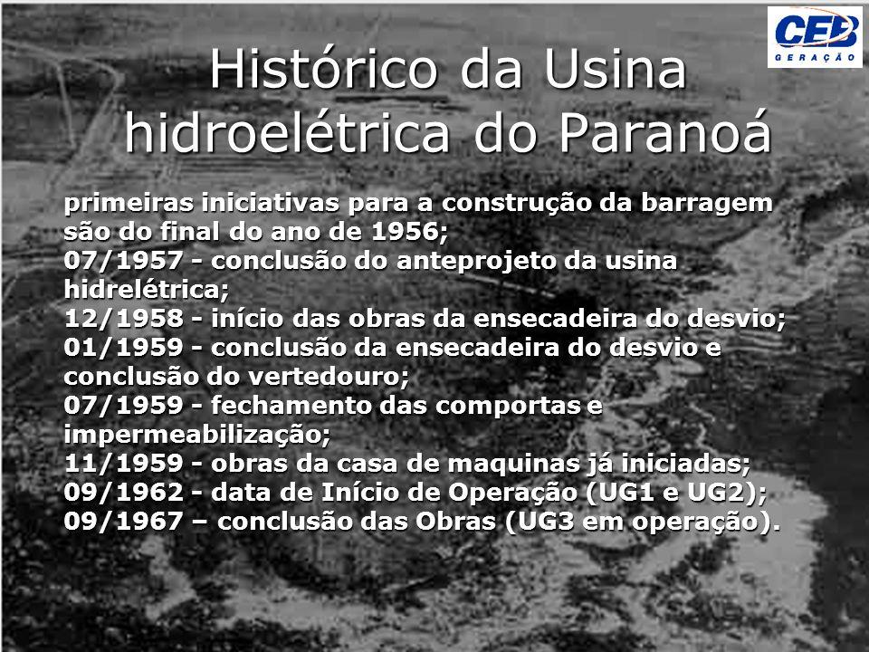 primeiras iniciativas para a construção da barragem são do final do ano de 1956; 07/1957 - conclusão do anteprojeto da usina hidrelétrica; 12/1958 - i