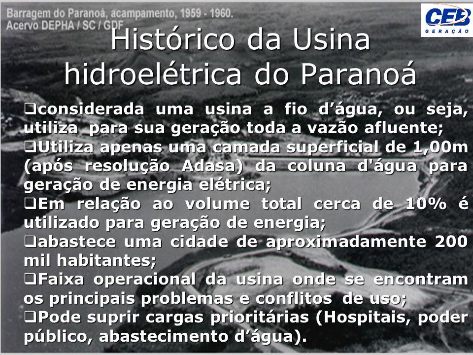 Histórico da Usina hidroelétrica do Paranoá considerada uma usina a fio dágua, ou seja, utiliza para sua geração toda a vazão afluente; considerada um