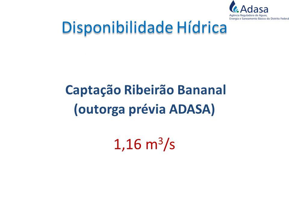 Captação Ribeirão Bananal (outorga prévia ADASA) 1,16 m 3 /s