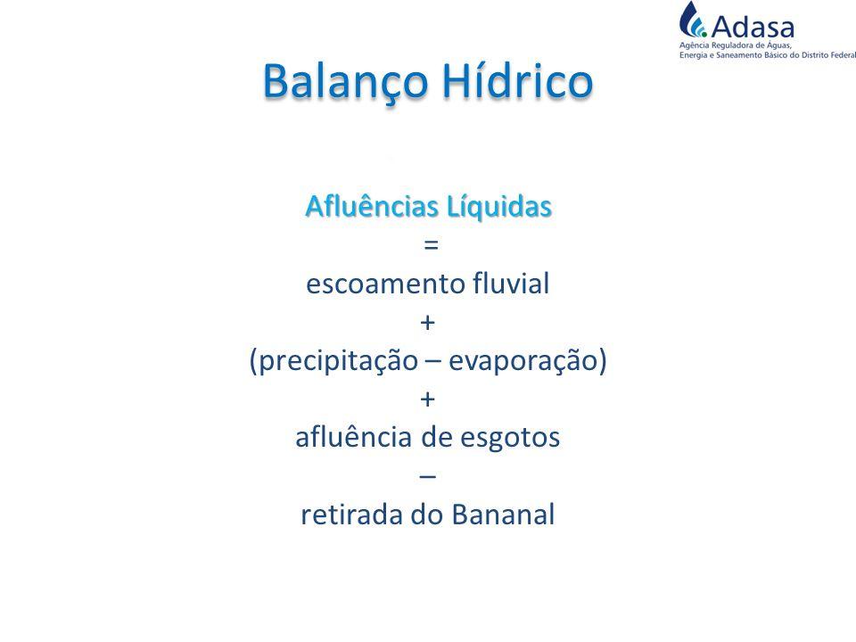 Afluências Líquidas = escoamento fluvial + (precipitação – evaporação) + afluência de esgotos – retirada do Bananal