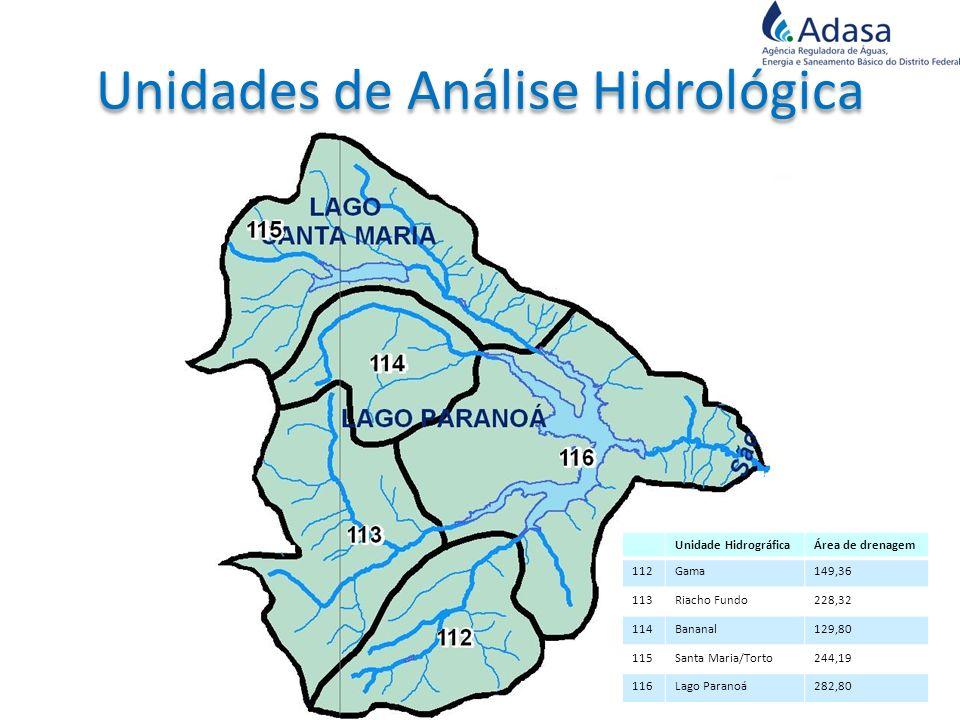 Unidade HidrográficaÁrea de drenagem 112Gama149,36 113Riacho Fundo228,32 114Bananal129,80 115Santa Maria/Torto244,19 116Lago Paranoá282,80