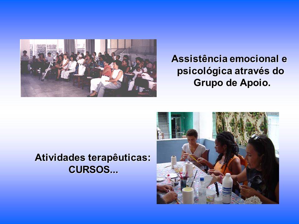 Assistência emocional e psicológica através do Grupo de Apoio. Atividades terapêuticas: CURSOS...