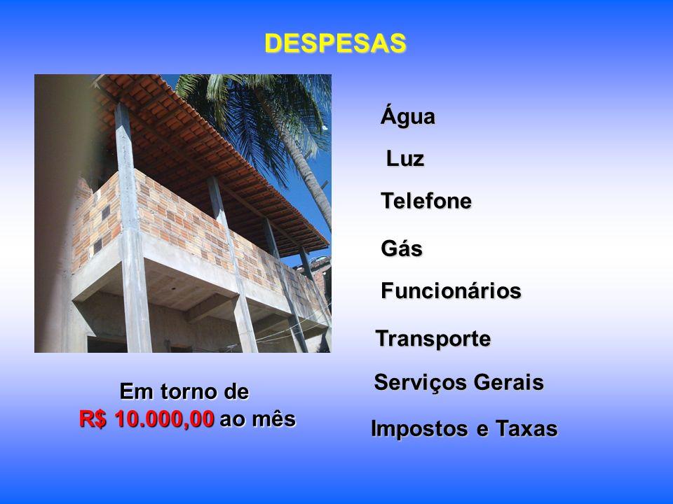 DESPESAS Em torno de R$ 10.000,00 ao mês R$ 10.000,00 ao mêsÁguaFuncionários Luz Telefone Gás Transporte Serviços Gerais Impostos e Taxas
